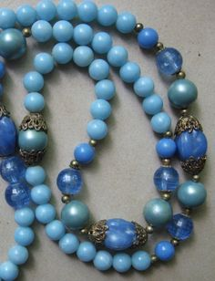 Vintage Costume Jewelry Blue Bead Necklace
