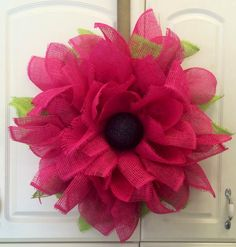 "Summer Deco Mesh Wreath Ideas | 24"" Pink Flower (paper) Deco Mesh Wreath **Recommended for indoor use ..."