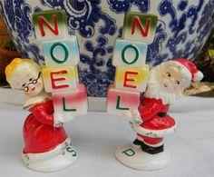 VTG Christmas Noel Santa & Mrs Clause Salt & Pepper Shakers Figurine Holt Howard