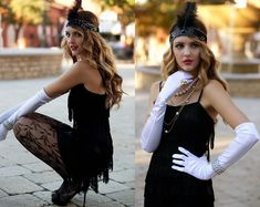 "Windsor Black Fringe Cocktail Dress, Urban Outfitters Lacy Tights, Windsor Head Piece, Windsor Black Strap Heels, White Costume Gloves, Pearls //""Flapper"" by Madeline Becker // LOOKBOOK.nu"