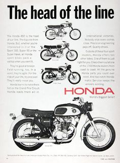 1967 Honda 450 Motorcycle Vintage Ad Head Of The Line With Views