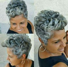 Stylish Older Women with Short Haircuts - New Hair Styles 2018 Short Grey Hair, Short Hair Cuts, Short Ombre, Black Hair, Grey Hair Wig, White Hair, Curly Hair Styles, Natural Hair Styles, Pelo Natural
