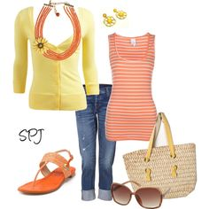 Coral & Yellow...love this look!...not in love with the necklace but love everything else