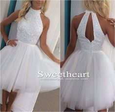 White A-line Sequin Tulle Short Prom Dress, Homecoming Dresses  Processing time: 15-18 business days Shipping Time: 7-10 business days Material: Tulle Shown Color: white Hemline:Mini Back Details: zipper Built-In Bra: Yes  For Custom Size, Please leave following measurement, You can fin...