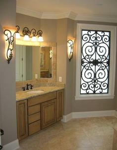 iron work bathroom window | Tableaux® Faux Iron Window Application
