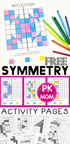 Print these free symmetry worksheets and activity pages to use with your students. Learn about the line of symmetry with these fun pattern challenge worksheets. Students must use logic, reasoning, and spatial skills to draw the reflected pattern across th Symmetry Worksheets, Symmetry Activities, Art Worksheets, Free Printable Worksheets, Printables, Kindergarten Activities, Teaching Math, Maths, Preschool