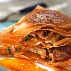 Millefeuille à la marocaine Food L, Pulled Pork, Thai Red Curry, Bricks, Ethnic Recipes, African, Moroccan Kitchen, Meal Ideas, Eat