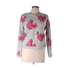 Pre-owned Ann Taylor LOFT Sweatshirt ($16) ❤ liked on Polyvore featuring tops, hoodies, sweatshirts, grey, gray top, grey top, grey sweatshirt, loft tops and gray sweatshirt