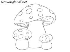 how to draw mushrooms for kids
