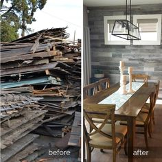 Reclaimed Wood Paneling, Weathered Wood, Diy Design, Design Ideas, Peel And Stick Wood, Indoor Air Quality, Dining Room Design, Sustainable Design, Beautiful Homes