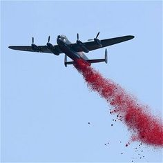 An Avro Lancaster bomber, part of The Battle of Britain Memorial Flight, drops thousands of poppy petals from it's bomb bay over the new Bomber Command Memorial
