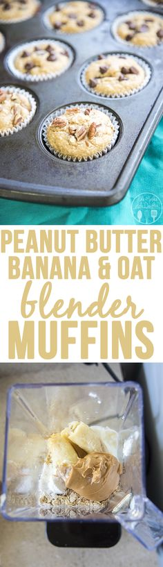 Peanut Butter, Banana, and Oat Blender Muffins - These clean eating muffins have…