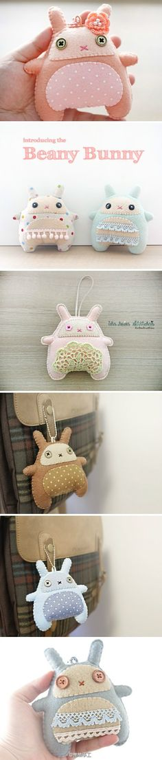 胖兔子钥匙挂坠——来自柚柚手工 (Fat rabbit key pendants - handmade from Youyou)