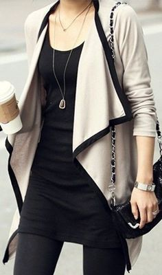 Draped Open-Front Cardigan with contrast trim.