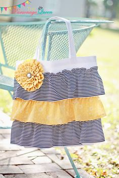 Navy and White Striped Ruffled Tote Bag with removable Yellow Flower Pin