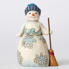 Take Time To Catch The Snowflakes-Winter Wonderland Pint Sized Snowman with Broom Figurine - Snowmen