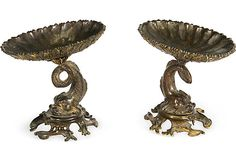 Pair of French 19th-century compotes; bronze with traces of gilt.