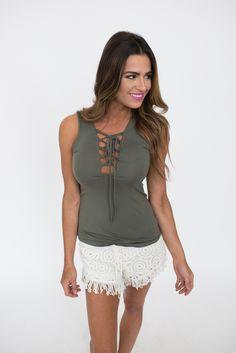 Olive Lace Up Tank - Dottie Couture Boutique