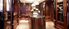 Luxury custom mahogany dressing room, cabinetry, woodwork, millwork, Boston, MA