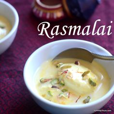 RASMALAI, Cottage cheese patties dunked in condensed milk laced with saffron Indian Desserts, Indian Sweets, Indian Food Recipes, Gourmet Recipes, Healthy Recipes, Cheese Patties, Dry Coconut, Bean Soup, Food Print