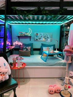 Room Design Bedroom, Room Ideas Bedroom, Kawaii Bedroom, Neon Room, Cute Room Ideas, Gaming Room Setup, Game Room Design, Gamer Room, Aesthetic Room Decor