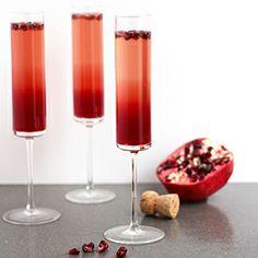 A sparkling pomegranate cranberry cocktail