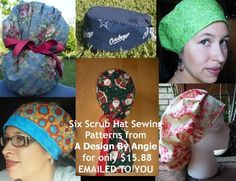 Six Pack Surgical Scrub Hat Sewing Patterns Scrub Hat Patterns, Hat Patterns To Sew, Sewing Crafts, Sewing Projects, Sewing Ideas, Childrens Sewing Patterns, General Crafts, Scrub Hats, Learn To Sew