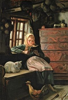 "Michael Peter Ancher (1849 – 1927, Danish) - ""Sunday Afternoon - Interior With A Girl Reading"""