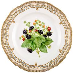 Royal Copenhagen Flora Danica Pierced Fruit Plate Decorated with Blackberries | From a unique collection of antique and modern dinner plates at https://www.1stdibs.com/furniture/dining-entertaining/dinner-plates/