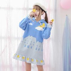 Kawaii star fleece dress SE9561 Harajuku Fashion, Kawaii Fashion, Fashion Outfits, Fasion, Kawaii Clothes, Kawaii Outfit, Pastel Clothes, Japanese Fashion, Asian Fashion