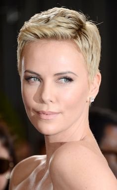 The striking actress looked positively exquisite modeling her pixie cut.