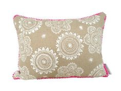 Cushion Messy Posey with pink mini pom pom trim.