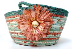 Mint Green and Melon Basket Coiled Rope Organizer by SallyManke
