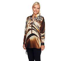 Susan Graver Printed Chiffon Long Sleeve Hi-Low Hem Tunic