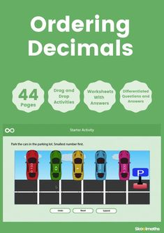 Ordering and Comparing Decimals is a completely interactive lesson for learners in year 5 and 6.Learning Objectives include:order and compare numbers with up to three decimal places.use place value counters to represent the numbers they are comparing.use number lines to understand where numbers appear in relation to other numbers. Ordering Decimals, Comparing Decimals, Interactive Activities, Math Activities, Key Stage 2 Maths, Decimal Places, Number Lines, Fourth Grade Math, Learning Objectives