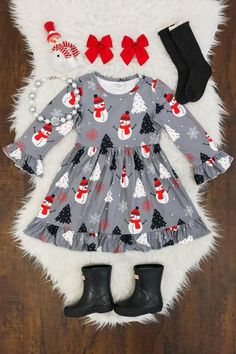 Kids Clothing Red & Gray Snowman Dress Kids ClothingSource : Red & Gray Snowman Dress by Little Kid Fashion, Little Girl Outfits, Baby Girl Fashion, Toddler Fashion, Toddler Outfits, Kids Outfits, Kids Fashion, Cute Outfits, Winter Outfits
