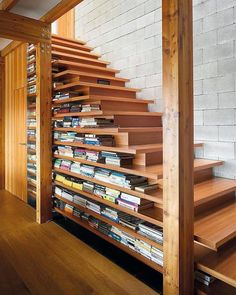 Creative Ways To Incorporate Book Storage In Around Stairs For Under Bookcase Prepare. Hidden Bookcase Under Stairs. Under Stairs Bookcase Diy. Style At Home, Escalier Design, Home Libraries, Staircase Design, Staircase Bookshelf, Bookshelf Ideas, Staircase Ideas, Stair Shelves, Stair Design