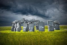If you can't make a trip across the pond, your next best option may be the Cornhusker State. On a 10-acre plot in #Alliance, #Neb., stands #Carhenge — a monument that looks like the artistic offspring of Stonehenge and Cadillac Ranch. Envisioned by artist Jim Reinders in 1987, Carhenge is an arrangement of 38 autos, painted slate gray and placed in a formation mimicking England's medieval wonder.