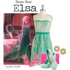 Elsa by charlizard on Polyvore featuring Betsey Johnson, Kate Spade, Disney, disney, frozen, elsa and frozenfever