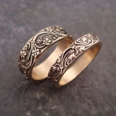Art Deco Ivy Wedding Band Set in 14k Gold by DownToTheWireDesigns