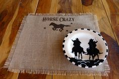 Burlap Placemat, Country Western, Southwestern, Cowgirl Placemat, Southwest Kitchen, Ranch Decor, Western Decor, Horse Crazy Placemat by RazorbackRanchDesign on Etsy https://www.etsy.com/listing/212418669/burlap-placemat-country-western