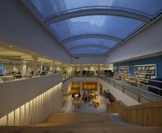 JKR's office at Oval road showing the central atrium with café area at the base and library area and open plan desks above.  http://www.we.uk.com/case-studies/jkr-oval-road