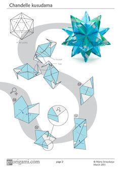 Diagram for a modular origami star, Chandelle Kusudama, designed by Maria Sinayskaya. Folded with 30 square sheets of paper, without glue. Origami Design, Diy Origami, Origami Star Box, Origami And Kirigami, Origami Ball, Origami Fish, Origami Folding, Paper Crafts Origami, Origami Stars