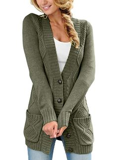 Astylish Women Open Front Cabel Knit Cardigan Button Down Long Sleeve Sweater Coat Outwear with Pockets Large 12 14 Green Sweater Coats, Cable Knit Sweaters, Sweater Cardigan, Chunky Sweaters, Cozy Sweaters, Sweater Outfits, Winter Outfits Men, Fall Outfits, Fashion Outfits