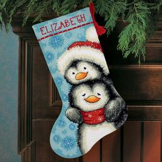 DIMENSIONS-Hugging Penguins Stocking Needlepoint KitThe hugging penguins on this needlepoint Christmas stocking kit are so cute and soft looking, it makes us want to reach in an pick one up. Unique Christmas Stockings, Cross Stitch Christmas Stockings, Cross Stitch Stocking, Xmas Stockings, Cross Stitch Kits, Cross Stitch Patterns, Needlepoint Christmas Stocking Kits, Needlepoint Stockings, Needlepoint Kits