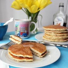 Protein Pancakes from Living Well Kitchen: less than 200 calories with 16 grams protein, only 4 ingredients, and gluten-free