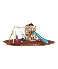 I absolutely love that this one has a playhouse too.   Madison Green Wave Slide & Swing Set by KidWise #zulilyfinds