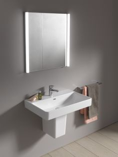 Simple, democratic #design with Laufen Pro S. Even a simple replacement of #washbasin with syphon cover can update your #bathroom space