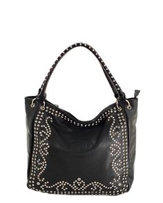 Black Studded Slouch Hobo Purse