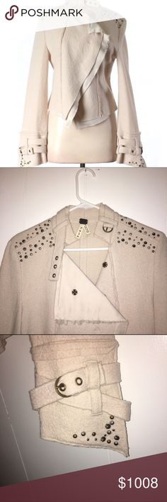 🍃RARE🍃Free People wool snap front jacket 100% Wool snap front jacket  is so cool I got it twice!! Cream colored wool outer with poly liner and hidden snap buttons. Stud detailing on the shoulders and french cuffs. The collar has a belt detail which can be used to button up if it gets chilly. The cuffs also boast the same belt detailing. Very chic! We the Free Jackets & Coats Blazers